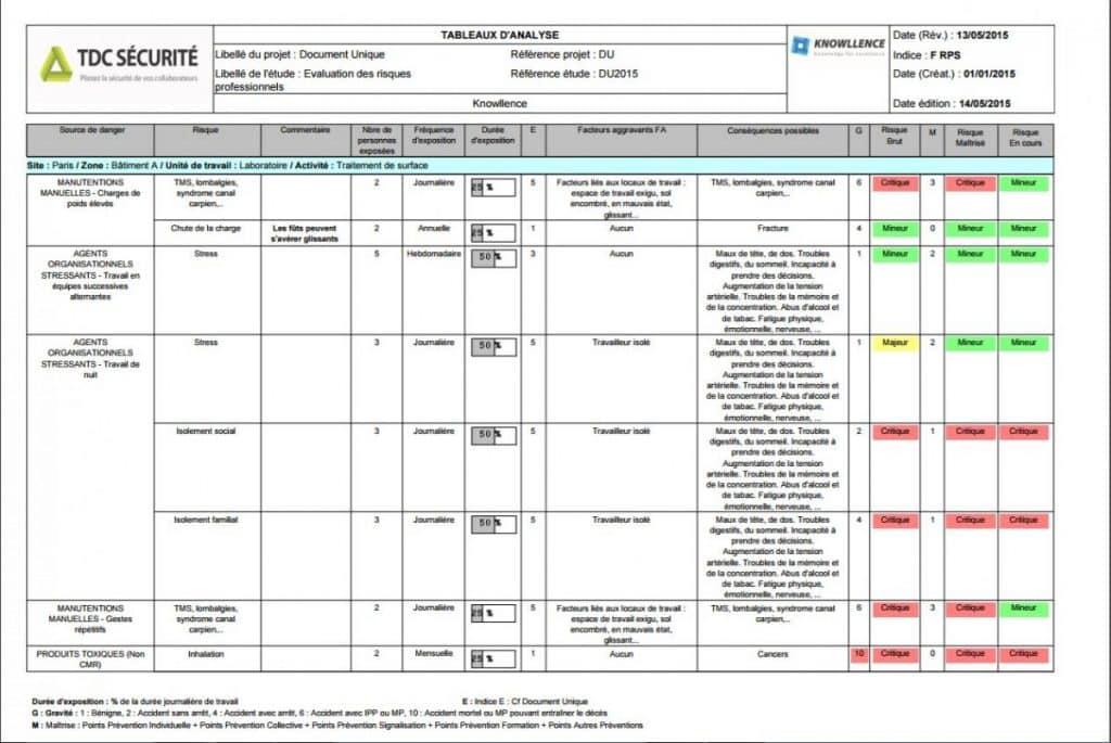 Tableau D Analyse Des Risques Evrp Exemple De Rapport