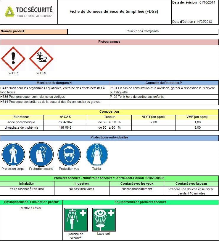 FDSS Fiche de Données Sécurité Simplifiée gérée par TDC Sécurité