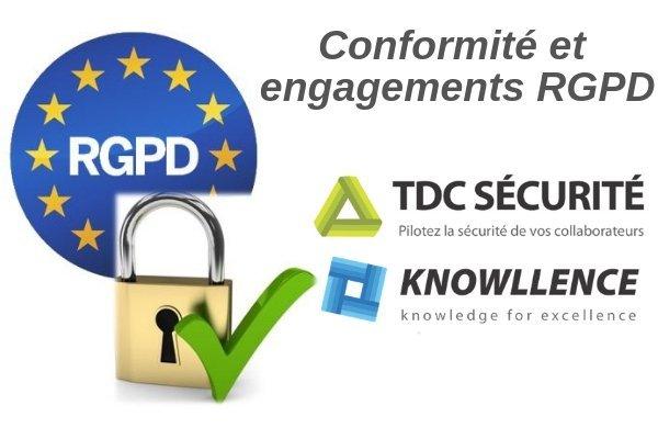 conformité rgpd du logiciel TDC Sécurité et de Knowllence