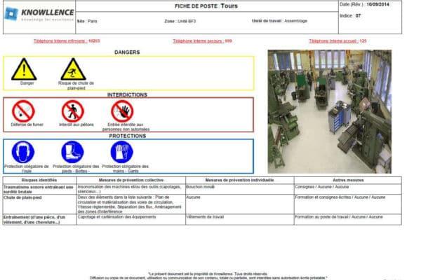 175205201ae Instructions et fiche de sécurité au poste de travail