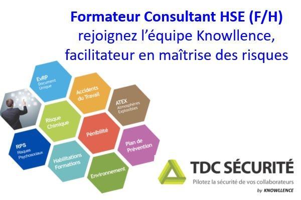 Knowllence recherche un consultant formateur Logiciel HSE
